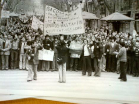 Manifestació sindical a les Rambles de Barcelona. Desembre de 1977 (Arxiu Fotgràfic de BCN / Pérez de Rozas)